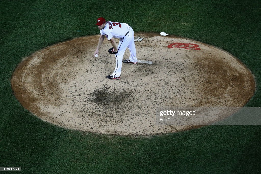 Max Scherzer #31 of the Washington Nationals waits to pitch to a Atlanta Braves batter in the seventh inning at Nationals Park on September 13, 2017 in Washington, DC.