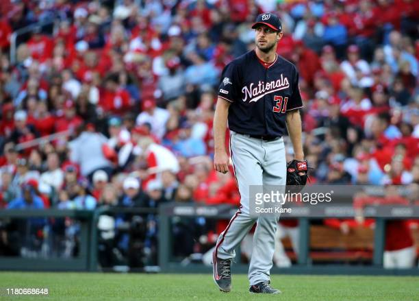 Max Scherzer of the Washington Nationals walks on the field during the fifth inning of game two of the National League Championship Series against...