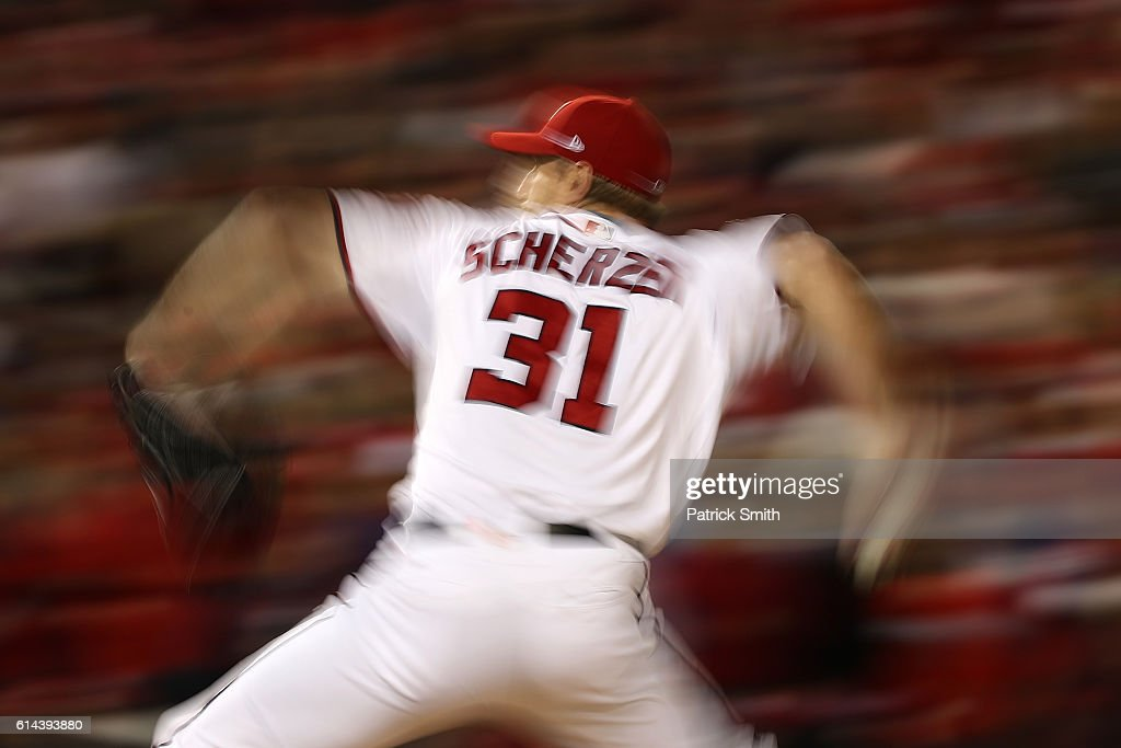 Max Scherzer #31 of the Washington Nationals works against the Los Angeles Dodgers in the fourth inning during game five of the National League Division Series at Nationals Park on October 13, 2016 in Washington, DC.