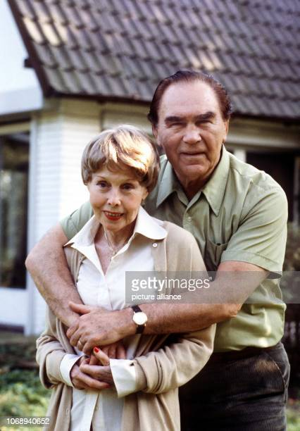 Max Schmeling embraces lovingly his wife the actress Anny Ondra in front of their house in LowerSaxon Hollenstedt near Hamburg pictured on 22nd...