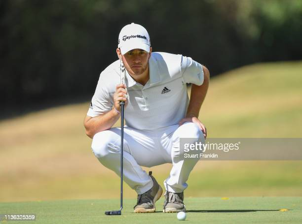 Max Schmitt of Germany lines up a putt on the fourth hole during Day four of the Magical Kenya Open presented by Absa at the Karen Country Club on...
