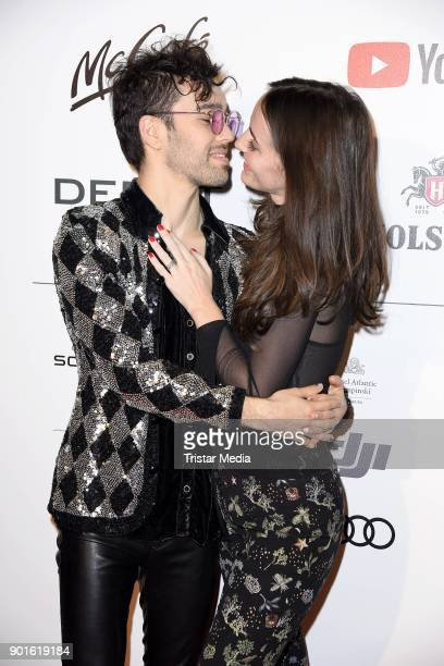 Max Schneider and his wife Emily Schneider attend the Channel Aid Concert at Elbphilharmonie on January 5 2018 in Hamburg Germany