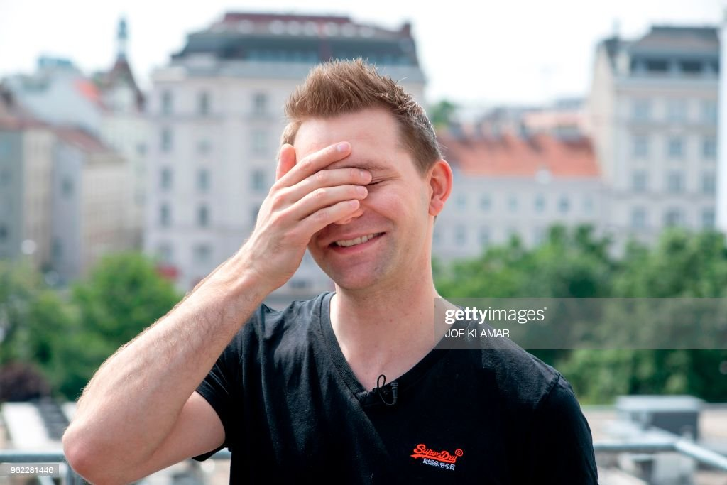 Max Schrems, Austrian lawyer and privacy activist, talks with AFP journalists ahead of the introduction of the EU's new GDPR regulations in Vienna, Austria, on May 24, 2018. - Schrems' new NGO 'None of Your Business' (NYOB) is helping to launch several cases against tech companies using the GDPR. The EU's so-called General Data Protection Regulation (GDPR) came into effect on Friday, May 25, 2018, with Brussels saying the changes will protect consumers from being like 'people naked in an aquarium'.