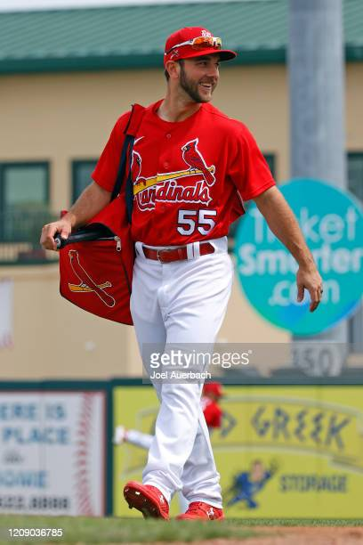 Max Schrock of the St Louis Cardinals walks to the dugout prior to the spring training game against the Miami Marlins at Roger Dean Chevrolet Stadium...
