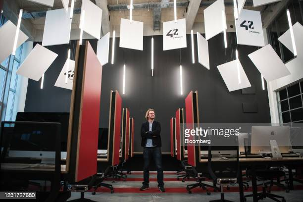 Max Senges, head of '42 Wolfsburg', in a classroom at the Volkswagen AG sponsored coding school, in Wolfsburg, Germany, on Thursday, March 11, 2021....