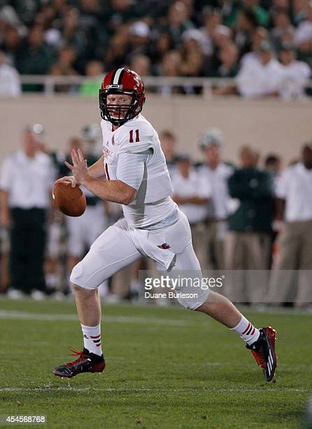 Max Shortell of the Jacksonville State Gamecocks looks to pass against the Michigan State Spartans during the second half at Spartan Stadium on...
