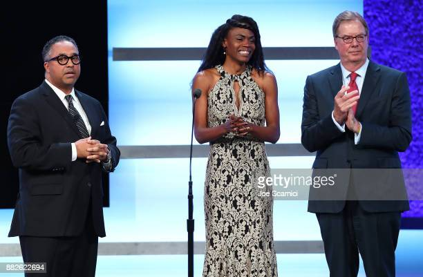 Max Siegel Chaunte Lowe and Larry Probst are seen on stage during the 2017 Team USA Awards on November 29 2017 in Westwood California Chaunte Lowe...