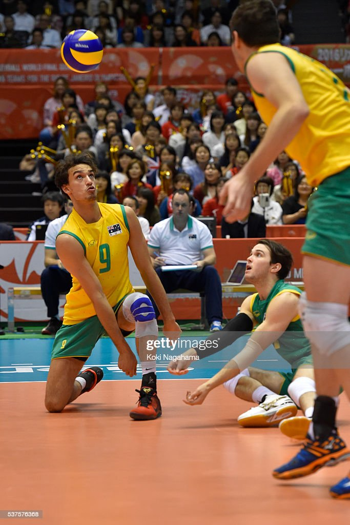 Max Staples #9 of Australia receives the ball during the Men's World Olympic Qualification game between Australia and Japan at Tokyo Metropolitan Gymnasium on June 2, 2016 in Tokyo, Japan.
