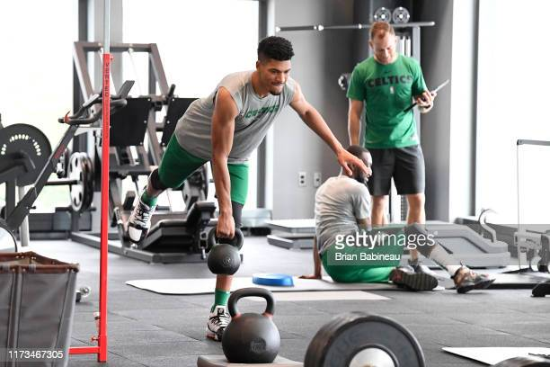 Max Strus of the Boston Celtics works out during practice on October 3 2019 at the Auerbach Center in Brighton Massachusetts NOTE TO USER User...
