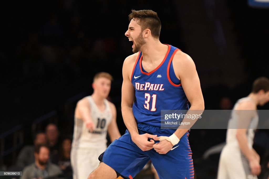 Max Strus #31 of the DePaul Blue Demons celebrates a shot the first round of the Big East Men's Basketball Tournament against the DePaul Blue Demons at Madison Square Garden on March 7, 2018 in New York City. Photo by Mitchell Layton/Getty Images)
