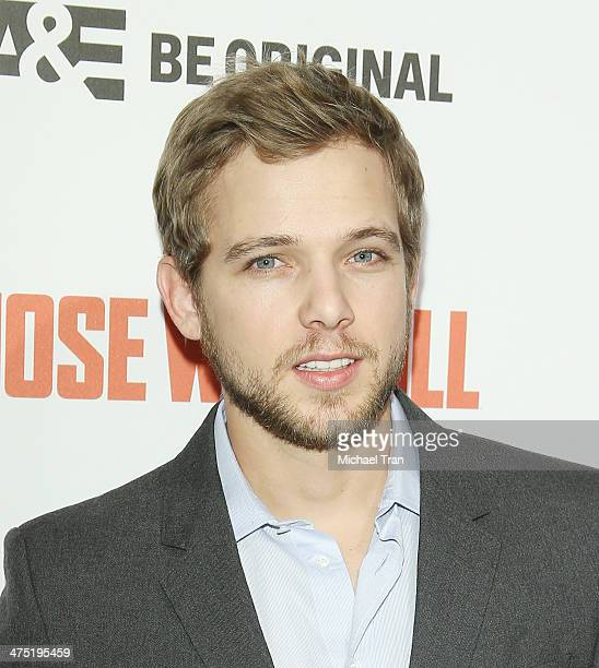 Max Thieriot arrives at the premiere party for AE's season 2 of Bates Motel and series premiere of Those Who Kill held at Warwick on February 26 2014...