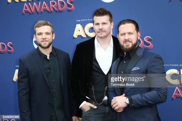 Max Thieriot, David Boreanaz, and A. J. Buckley attend the 53rd Academy of Country Music Awards at MGM Grand Garden Arena on April 15, 2018 in Las...