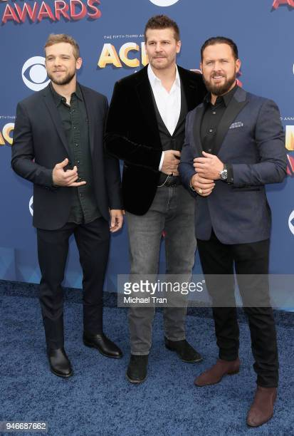 Max Thieriot David Boreanaz and AJ Buckley attend the 53rd Academy of Country Music Awards at MGM Grand Garden Arena on April 15 2018 in Las Vegas...