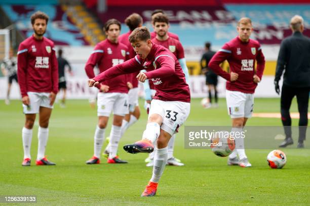 Max Thompson of Burnley warms up ahead of the Premier League match between Burnley FC and Wolverhampton Wanderers at Turf Moor on July 15, 2020 in...