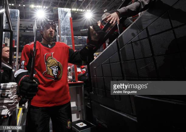 Max Veronneau of the Ottawa Senators leaves the ice after warmup prior to a game against the Toronto Maple Leafs at Canadian Tire Centre on March 30...