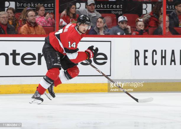 Max Veronneau of the Ottawa Senators skates against the St Louis Blues at Canadian Tire Centre on March 14 2019 in Ottawa Ontario Canada