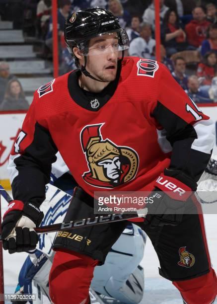 Max Veronneau of the Ottawa Senators skates against the Toronto Maple Leafs at Canadian Tire Centre on March 30 2019 in Ottawa Ontario Canada