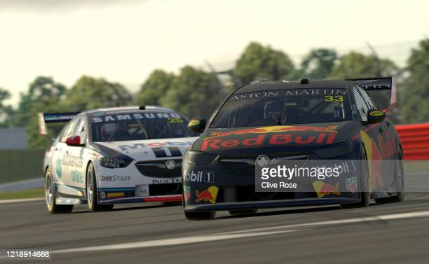 Max Verstappen driving the Aston Martin Red Bull Racing Holden Commodore ZB and Chaz Mostert driving the Mobil 1™ Appliances Online Racing Holden...