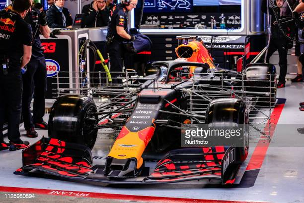 Max Verstappen from Nederland with 33 Aston Martin Red Bull Racing Honda RB15 in action at the box with aerodinamic sensors at sidepods during the...