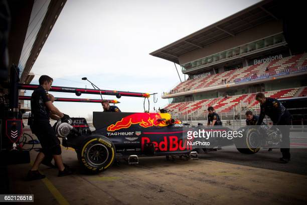 Max Verstappen from Nederlans of Red Bull Tag Heuer RB13 in action during the Formula One winter testing at Circuit de Catalunya on March 10 2017 in...