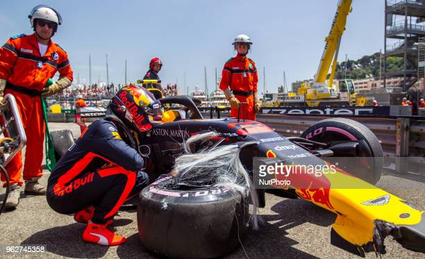 Max Verstappen of Netherland and Red Bull Racing driver crash his car during the practice session on Formula 1 Grand Prix de Monaco on May 26, 2018...