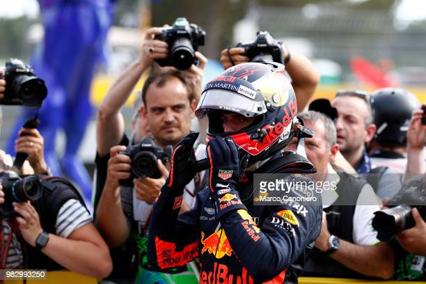 Max Verstappen of Netherlands and Aston Martin Red Bull Racing celebrates in parc ferme during Formula One Gran Prix de France