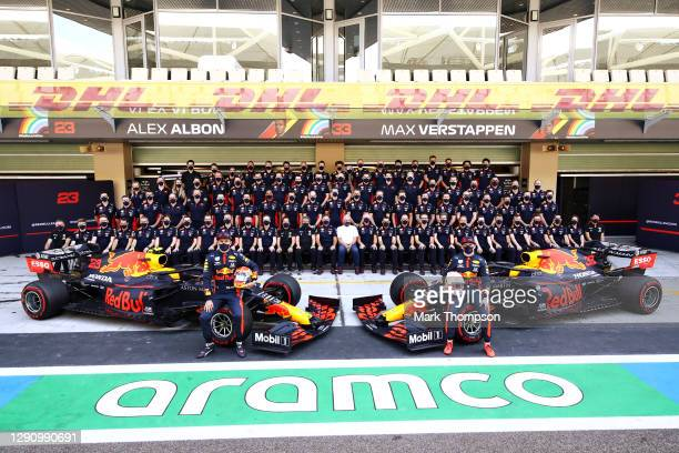 Max Verstappen of Netherlands and Red Bull Racing, Alexander Albon of Thailand and Red Bull Racing, Red Bull Racing Team Principal Christian Horner,...