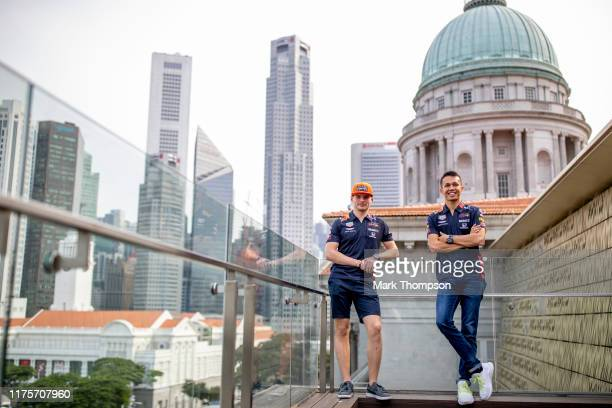 Max Verstappen of Netherlands and Red Bull Racing and Alexander Albon of Thailand and Red Bull Racing look over the circuit during previews ahead of...