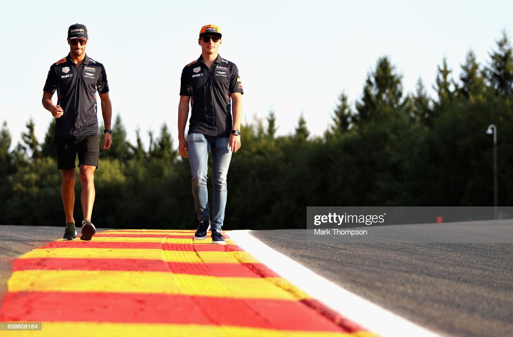 Max Verstappen of Netherlands and Red Bull Racing and Daniel Ricciardo of Australia and Red Bull Racing walk on the circuit during previews ahead of the Formula One Grand Prix of Belgium at Circuit de Spa-Francorchamps on August 24, 2017 in Spa, Belgium.