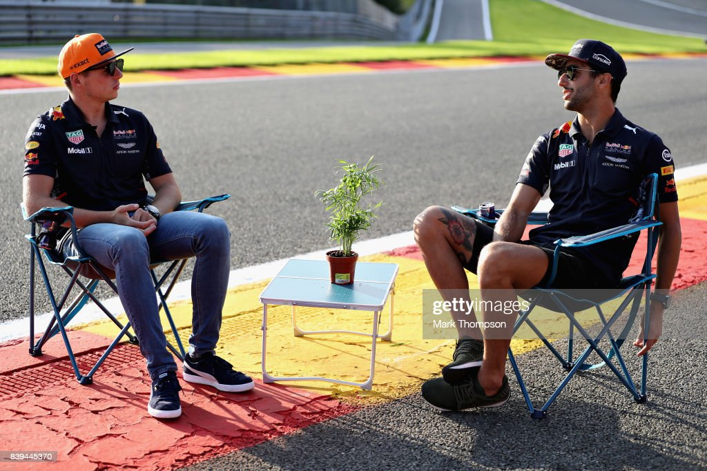 Max Verstappen of Netherlands and Red Bull Racing and Daniel Ricciardo of Australia and Red Bull Racing talk on Eau Rouge during previews ahead of the Formula One Grand Prix of Belgium at Circuit de Spa-Francorchamps on August 24, 2017 in Spa, Belgium.