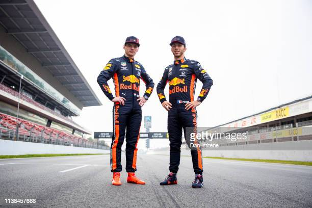 Max Verstappen of Netherlands and Red Bull Racing and Pierre Gasly of France and Red Bull Racing pose for a photo during Red Bull Racing Filming Day...