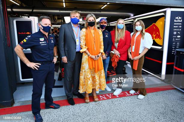 Max Verstappen of Netherlands and Red Bull Racing and Red Bull Racing Team Principal Christian Horner pose for a photo with King Willem-Alexander,...
