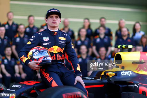 Max Verstappen of Netherlands and Red Bull Racing at the Red Bull Racing team photo before the Abu Dhabi Formula One Grand Prix at Yas Marina Circuit...