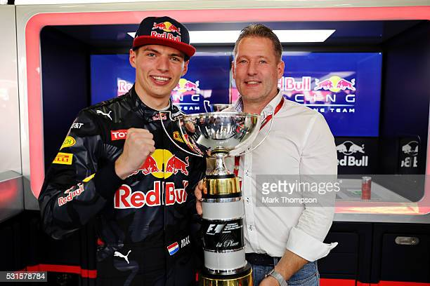 Max Verstappen of Netherlands and Red Bull Racing celebrates his first F1 win with father Jos Verstappen during the Spanish Formula One Grand Prix at...