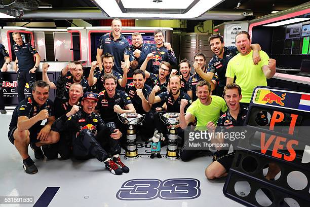 Max Verstappen of Netherlands and Red Bull Racing celebrates his first F1 win with his team in the garage during the Spanish Formula One Grand Prix...