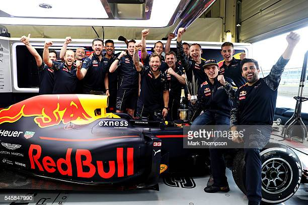 Max Verstappen of Netherlands and Red Bull Racing celebrates his third position finish with his team during the Formula One Grand Prix of Great...