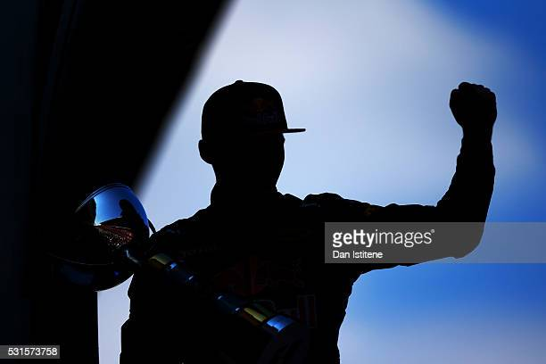 Max Verstappen of Netherlands and Red Bull Racing celebrates his first win on the podium during the Spanish Formula One Grand Prix at Circuit de...