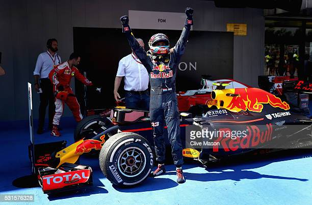 Max Verstappen of Netherlands and Red Bull Racing celebrates his first win in parc ferme during the Spanish Formula One Grand Prix at Circuit de...