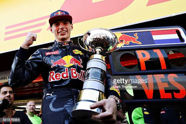 Max Verstappen of Netherlands and Red Bull Racing celebrates his win with his trophy during the Spanish Formula One Grand Prix at Circuit de...