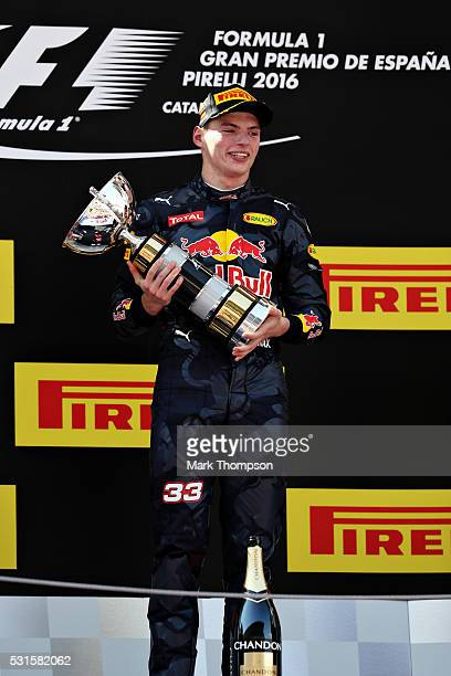Max Verstappen of Netherlands and Red Bull Racing celebrates his win on the podium during the Spanish Formula One Grand Prix at Circuit de Catalunya...