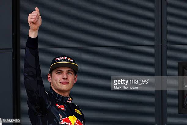 Max Verstappen of Netherlands and Red Bull Racing celebrates qualifying in third place on the grid during qualifying for the Formula One Grand Prix...