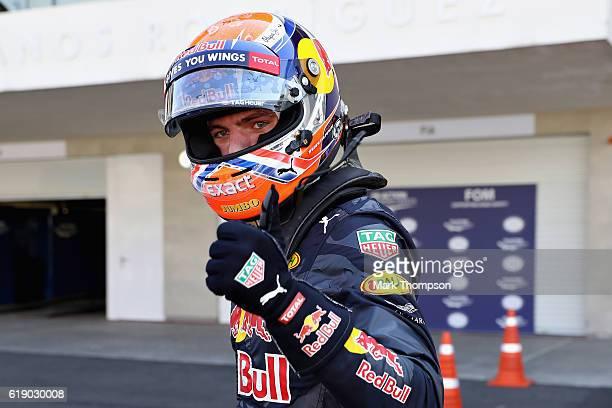 Max Verstappen of Netherlands and Red Bull Racing celebrates qualifying in third position on the grid during qualifying for the Formula One Grand...