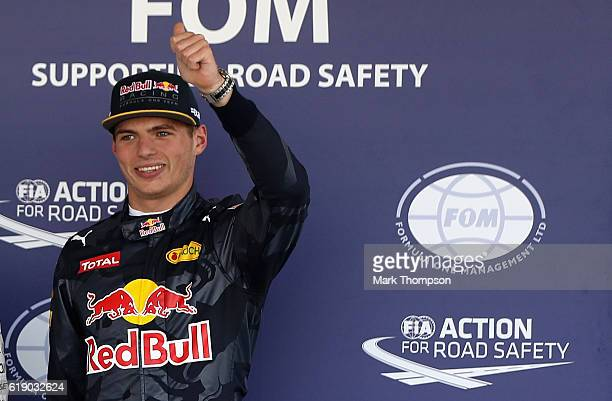 Max Verstappen of Netherlands and Red Bull Racing celebrates in parc ferme after qualifying in third position on the grid during qualifying for the...