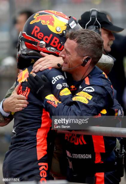 Max Verstappen of Netherlands and Red Bull Racing celebrates finishing in third position with his team in parc ferme during the Formula One Grand...