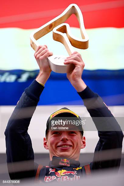 Max Verstappen of Netherlands and Red Bull Racing celebrates on the podium after finishing second in the Formula One Grand Prix of Austria at Red...