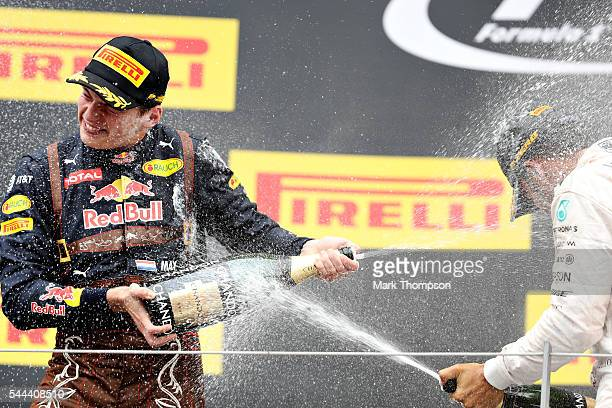 Max Verstappen of Netherlands and Red Bull Racing celebrates on the podium during the Formula One Grand Prix of Austria at Red Bull Ring on July 3...