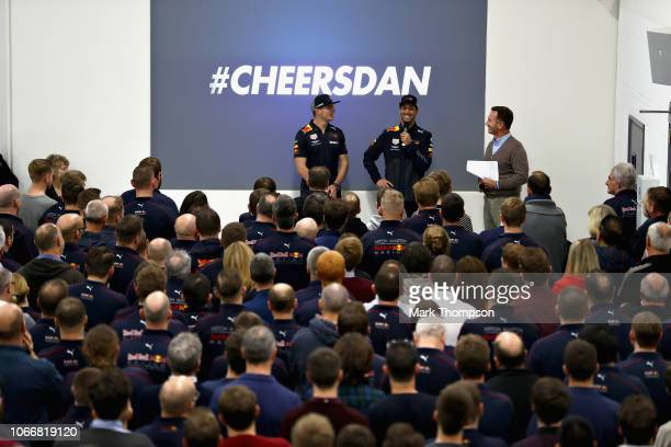 Max Verstappen of Netherlands and Red Bull Racing Daniel Ricciardo of Australia and Red Bull Racing and Red Bull Racing Team Principal Christian...