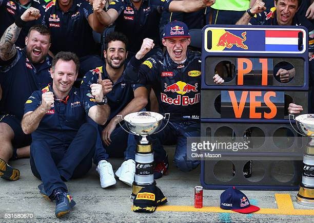 Max Verstappen of Netherlands and Red Bull Racing Daniel Ricciardo of Australia and Red Bull Racing and Red Bull Racing Team Principal Christian...