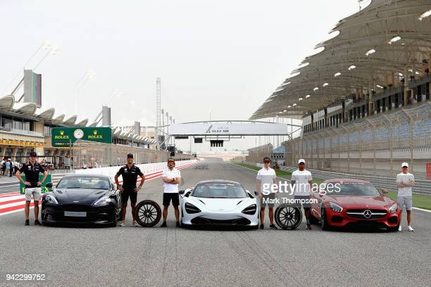 Max Verstappen of Netherlands and Red Bull Racing Daniel Ricciardo of Australia and Red Bull Racing Fernando Alonso of Spain and McLaren F1 Stoffel...