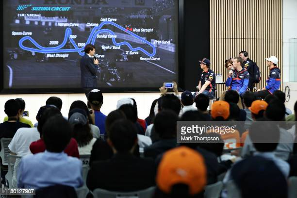 Max Verstappen of Netherlands and Red Bull Racing Daniil Kvyat of Russia and Scuderia Toro Rosso and Pierre Gasly of France and Scuderia Toro Rosso...